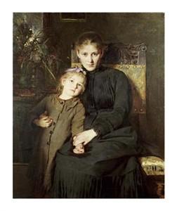 """Bertha Wegmann Fine Art Open Edition Giclée:""""A Mother and Daughter in an Interior"""""""
