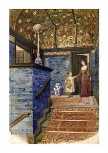 "T. Hamilton Crawford Fine Art Open Edition Giclée:""Staircase Hall with William de Morgan Tiles"""