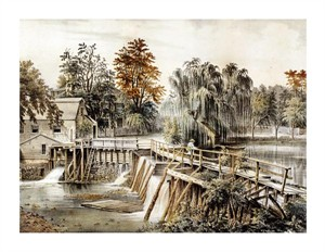 "Currier and Ives Fine Art Open Edition Giclée:""The Mill-Dam at Sleepy Hollow"""