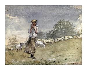"""Winslow Homer Fine Art Open Edition Giclée:""""Tending Sheep, Houghton Farm"""""""
