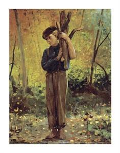 """Winslow Homer Fine Art Open Edition Giclée:""""Boy Holding Logs"""""""