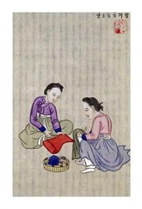 """Kim Junkeun Fine Art Open Edition Giclée:""""Making Inner Linings for Hats"""""""