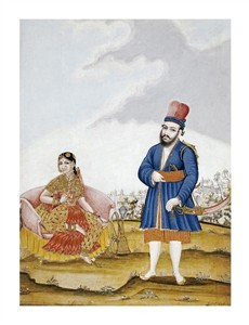 "Tanjore School Fine Art Open Edition Giclée:""A Moghul Nobleman with His Wife"""