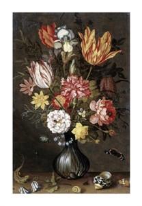 """Balthasar van der Ast Fine Art Open Edition Giclée:""""Tulips, Carnations, an Iris"""""""