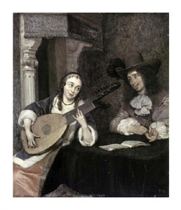 """Gerard Ter Borch Fine Art Open Edition Giclée:""""Woman Playing the Lute"""""""