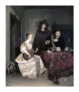 """Gerard Ter Borch Fine Art Open Edition Giclée:""""Young Woman Playing the Theorbo to Two Men"""""""