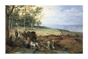 "Jan Bruegel the Elder Fine Art Open Edition Giclée:""A Wooded Landscape with Travelers"""