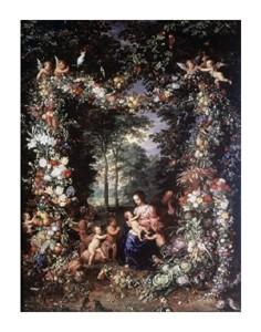 """Jan Bruegel the Elder Fine Art Open Edition Giclée:""""Holy Family W/ Wreath of Fruit & Flowers"""""""