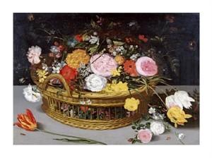 """Jan Bruegel the Elder Fine Art Open Edition Giclée:""""Roses Tulips, and Other Flowers in a Wicker Basket"""""""