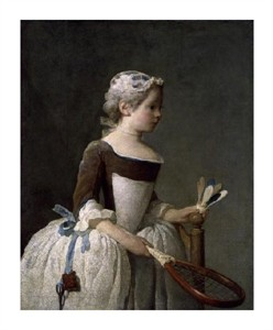 "Jean Baptiste Simeon Chardin Fine Art Open Edition Giclée:""Girl with Racket and Shuttlecock"""