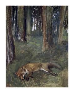 "Edgar Degas Fine Art Open Edition Giclée:""Dead Fox Under the Trees"""