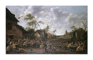 """Joost Cornelisz Droochsloot Fine Art Open Edition Giclée:""""Peasants Feasting on a Village Street"""""""