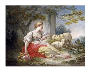 """Jean Honore Fragonard Fine Art Open Edition Giclée:""""Shepherdess Seated with Sheep and a Basket of Flowers Near a Ruin in a Wooded Landscape"""""""