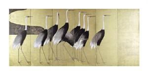 """Ogata Korin Fine Art Open Edition Giclée:""""Cranes on Folding Screen"""""""