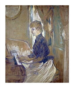"Henri Toulouse-Lautrec Fine Art Open Edition Giclée:""At the Piano, Madame Juliette Pascal in the Salon of the Malrome Palace"""