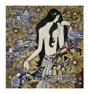 """Hua Long Fine Art Open Edition Giclée:""""Goddess of Flowers Series: No. 3"""""""