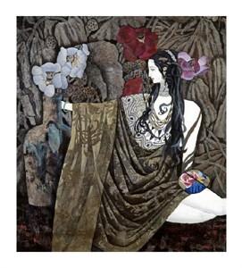 """Hua Long Fine Art Open Edition Giclée:""""Goddess of Flowers Series: No. 4"""""""