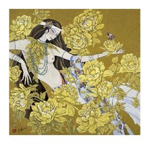"""Hua Long Fine Art Open Edition Giclée:""""Goddess of Flowers Series: No. 5"""""""