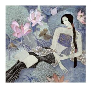 """Hua Long Fine Art Open Edition Giclée:""""Goddess of Flowers Series: No. 7"""""""
