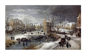 "Joos De Momper the younger Fine Art Open Edition Giclée:""A Village in Winter"""