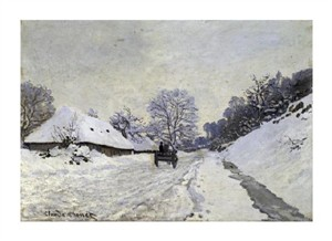"Claude Monet Fine Art Open Edition Giclée:""Snow-Covered Road at Honfleur"""