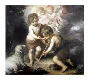 "Bartolome Esteban Murillo Fine Art Open Edition Giclée:""Jesus & John the Baptist: Children W/ Shell"""