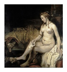 "Rembrandt Van Rijn Fine Art Open Edition Giclée:""Bathsheba at Her Bath"""