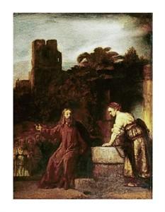 "Rembrandt Van Rijn Fine Art Open Edition Giclée:""Christ and the Woman of Samaria"""