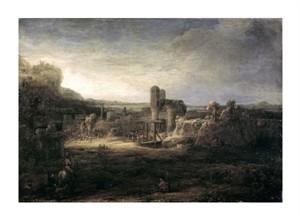 """Rembrandt Van Rijn Fine Art Open Edition Giclée:""""Landscape with a Church"""""""