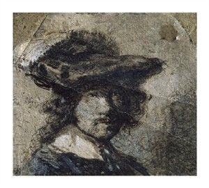 "Rembrandt Van Rijn Fine Art Open Edition Giclée:""Self Portrait with Cap of Feathers and a Whitecollar - Study"""