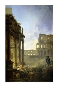 """Hubert Robert Fine Art Open Edition Giclée:""""Landscape of Italy"""""""