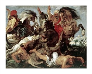 "Peter Paul Rubens Fine Art Open Edition Giclée:""Hippo Hunt"""