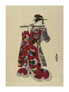 "Utagawa Toyokuni Fine Art Open Edition Giclée:""Yokobue - Seven Hole Chinese Flute"""