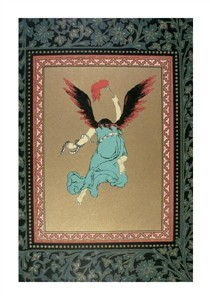 "Unknown Fine Art Open Edition Giclée:""An Angel with Flame Red Wings and a Snake Aroundits Arm"""