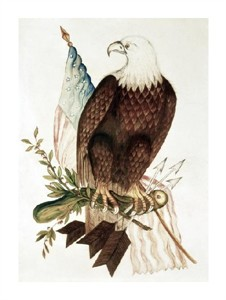 """Unknown Fine Art Open Edition Giclée:""""Bald Eagle with American Flag"""""""