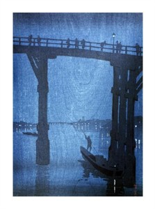 "Unknown Fine Art Open Edition Giclée:""Japanese Print (Night View of Eitai-Bashi (Tokyo))"""