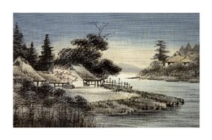 """Unknown Fine Art Open Edition Giclée:""""Japanese Print (Village By The River)"""""""