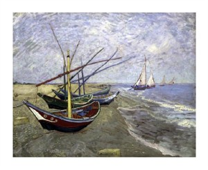 "Vincent Van Gogh Fine Art Open Edition Giclée:""Fishing Boats on the Beachat Saintes-Maries"""