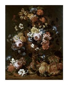 "Nicolas Van Veerendael Fine Art Open Edition Giclée:""Roses, Carnations & Other Flower in an urn"""