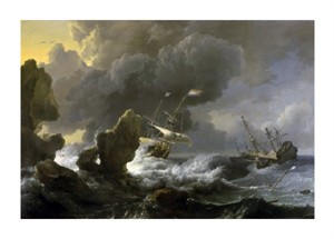 "Ludolf Backhuysen Fine Art Open Edition Giclée:""Dutch Merchantmen Driven onto a Rocky Coast in a Storm"""