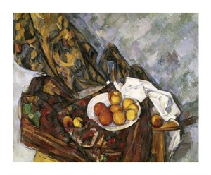 "Paul Cezanne Fine Art Open Edition Giclée:""Still Life with Floral Curtain"""