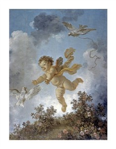 "Jean Honore Fragonard Fine Art Open Edition Giclée:""Love Reaching for a Dove"""