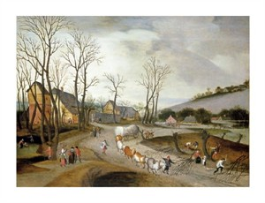 "Abel Grimmer Fine Art Open Edition Giclée:""Winter Landscape with Wagon and Peasants at Work"""