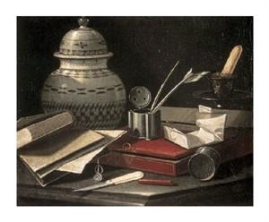 """Cristoforo Monari Fine Art Open Edition Giclée:""""Still Life with Writing Accessories"""""""