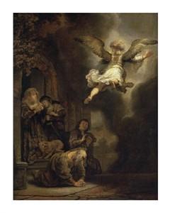 """Rembrandt Van Rijn Fine Art Open Edition Giclée:""""Archangel Raphael Leaving the Family of Tobias"""""""