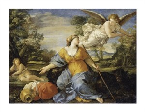 "Giovanni Francesco Romanelli Fine Art Open Edition Giclée:""Hagar and Ishmael in the Desert"""