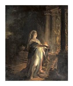 "Godfried Schalcken Fine Art Open Edition Giclée:""A Neophyte Making an Offering at an Altar to Cupid at Night"""
