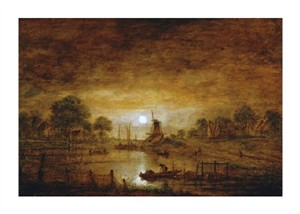 "Aert Van Der Neer Fine Art Open Edition Giclée:""Title Unknown (Boats at Sunset with Windmill)"""