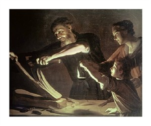 "Gerrit Van Honthorst Fine Art Open Edition Giclée:""Holy Family in the Carpentry Shop"""