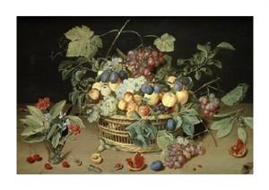 "Jacob Van Hulsdonck Fine Art Open Edition Giclée:""A Still Life of Fruit & Flowers in a Basket"""